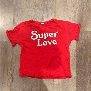 Zara red super love shirt